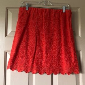 JCrew Orange Lace Skirt